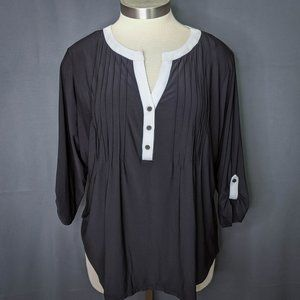 NY Collection Womens Top Shirt Plus 3X Black